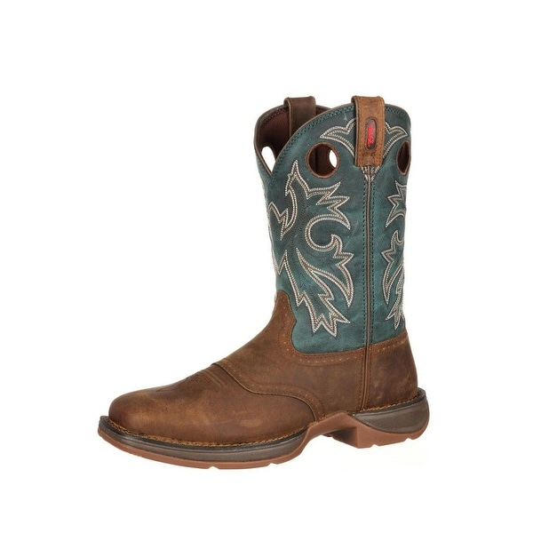 "Durango Western Boots Mens 11"" Rebel Pull On Leather Tan Navy"