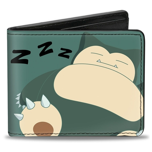 Snorlax Sleeping Pose Zzz Teals Tan Bi Fold Wallet - One Size Fits most