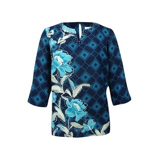 Alfred Dunner Women's Plus Size Scenic Route Collection Embellished Printed Top - Navy