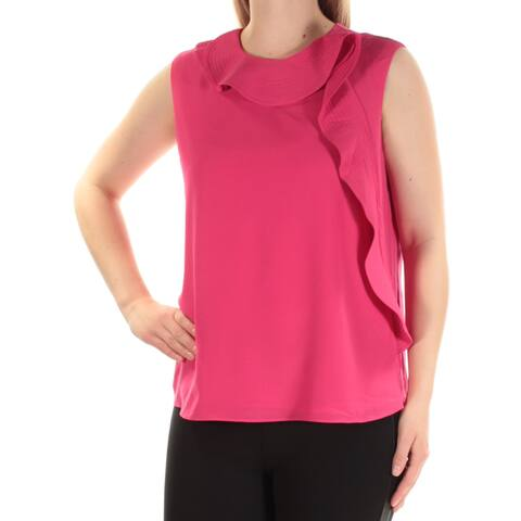 CYNTHIA ROWLEY Womens Pink Sleeveless Jewel Neck Top Size: M
