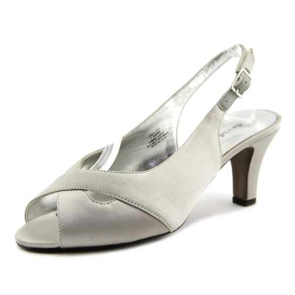 David Tate Palm Women W Peep-Toe Canvas Slingback Heel