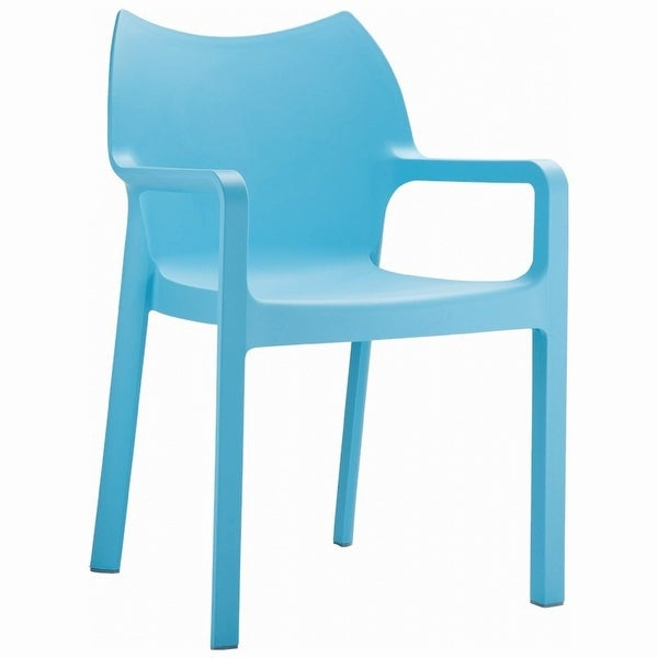 Diva Resin Outdoor Dining Arm Chair [Set of 4] Light Blue - Light Blue