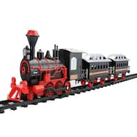 13-Piece Red and Black Battery Operated Lighted & Animated Classic Train Set with Sound