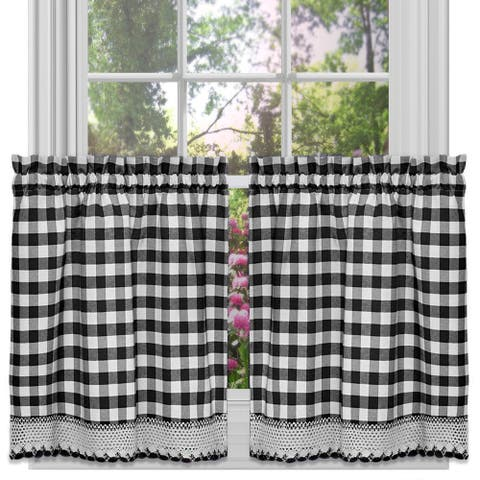 Buffalo Check Gingham Kitchen Curtain Tier Pairs, 58x36 Inches - 58x36 Inches