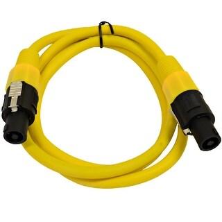 SEISMIC AUDIO 12 Gauge 5 Foot Yellow Speakon to Speakon Speaker Cable 5'