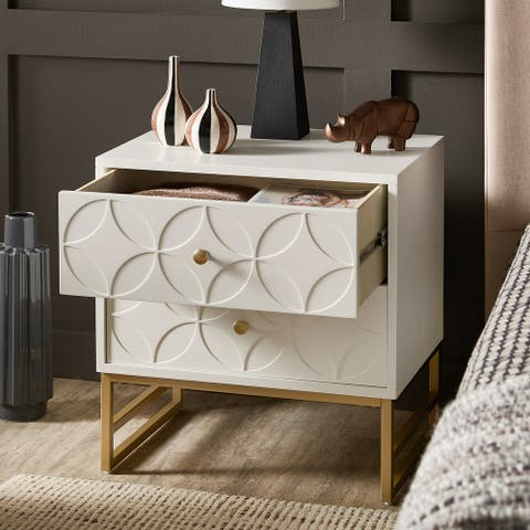 Luna Arched Diamond 2- Drawer Gold Metal End Table by iNSPIRE Q Bold