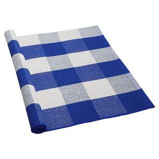 Cotton Checkered Plaid  Floor Area Rug Runner Carpet Mat Indoor Outdoor Washable