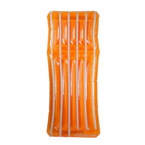 "72"" Inflatable Orange and White Transparent Cool Stripe Swimming Pool Mattress Float"