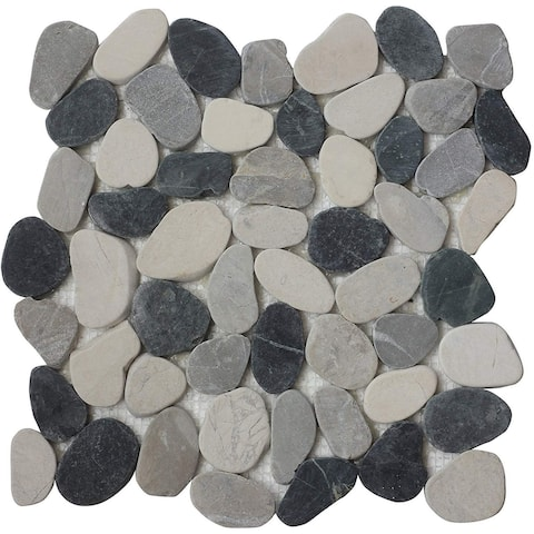 Interlocking Indonesia Flat Pebble Mesh Tiles (11-Pack)-Kitchen, Bathroom, and Patio Flooring - Indoor and Outdoor