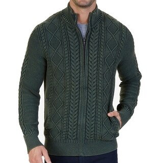 Nautica Moss Heather Mens Cable-Knit Full Zip Sweater