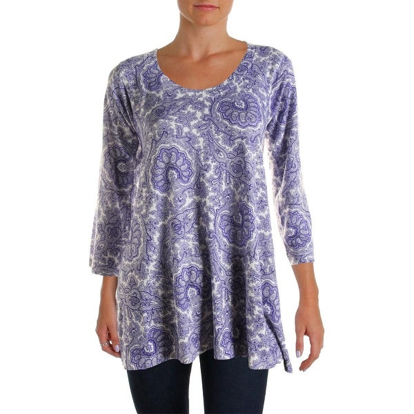 Nally & Millie Womens Tunic Top Paisley 3/4 Sleeves