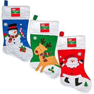 Link to Set of 3 Pack: Christmas House Whimsical Character Stockings with Fleece Cuffs, 18 inch Similar Items in Christmas Decorations