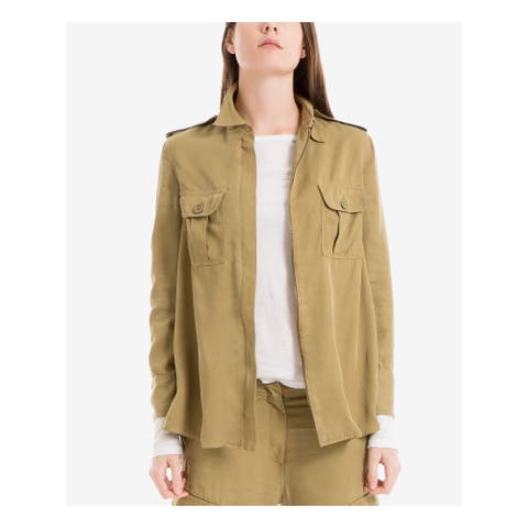 MAX STUDIO Womens Green Pocketed Zip Up Jacket Size L
