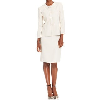 Le Suit NEW White Ivory Women's Size 18 Collarless Skirt Suit Set