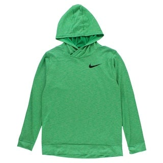 Nike Boys Nike Breathe Pullover Hoodie Shirt Green - Green/White