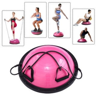Costway 23'' Yoga Ball Balance Trainer Yoga Fitness Strength Exercise Workout w/Pump Rose