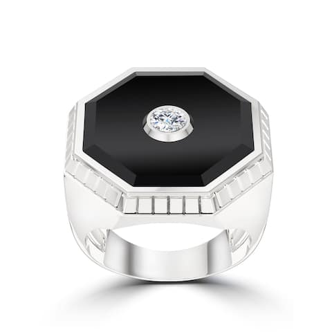 UFC Octagon Diamond Onyx Textured Frame Ring In Sterling Silver