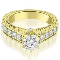 1.55 CT.TW Antique Cathedral Round Cut Diamond Engagement Ring - White H-I