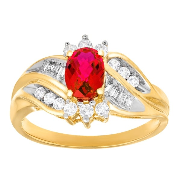 1 1/3 ct Created Ruby and Created White Sapphire Ring with Diamonds in 10K Gold