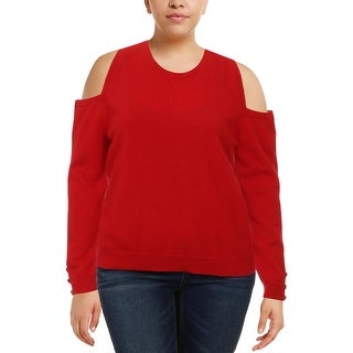 Lauren Ralph Lauren Womens Lissie Crewneck Sweater Cashmere Cold-Shoulder