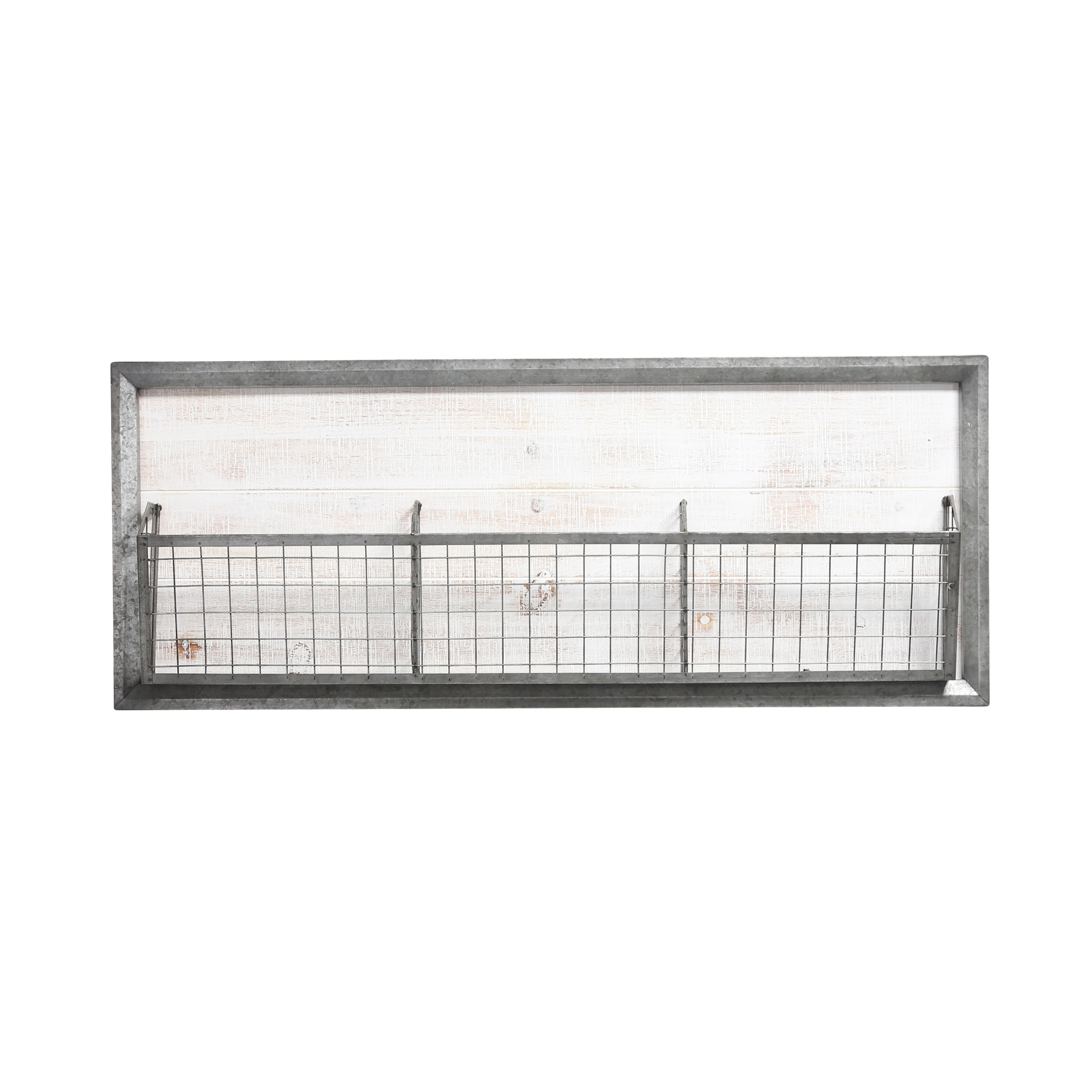 Traditional Metal Wall Basket with Three Sections, Gray