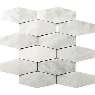 Emser Tile M05WINT1212MPR  Marble - Hexagon Mosaic Wall Tile - Textured Marble Visual - Winter Frost