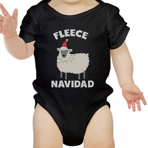 Fleece Navidad Cute Christmas Infant Bodysuit Gift Black Baby Romper