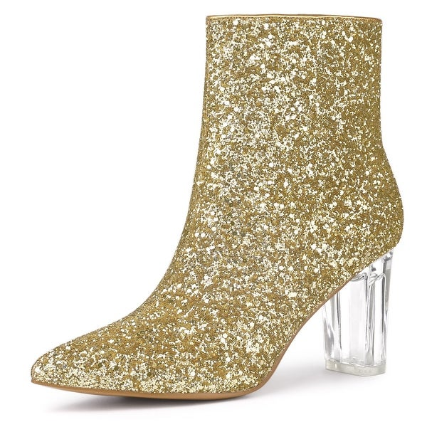 black ankle boots with glitter heel
