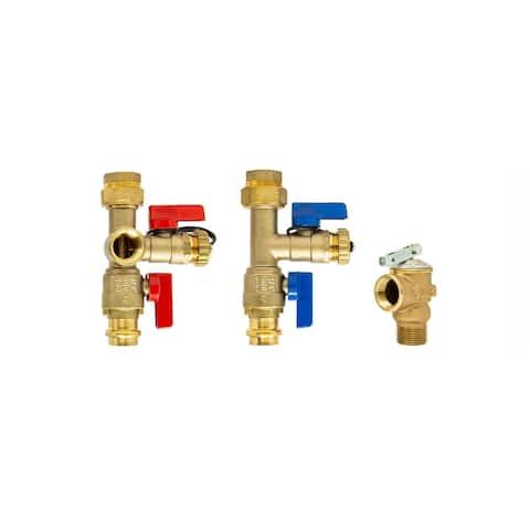 3/4 inch Tankless Water Heater Isolation Service Valve Kit w/Pressure Relief Valve, Press x FNPT, for Rheem, Rinai, Eccotemp