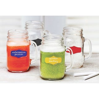 Palais Glassware Mason Jar Tumbler Mug with Handle, 17.5 Ounces, Set of 4, Clear with Colored Chalkb