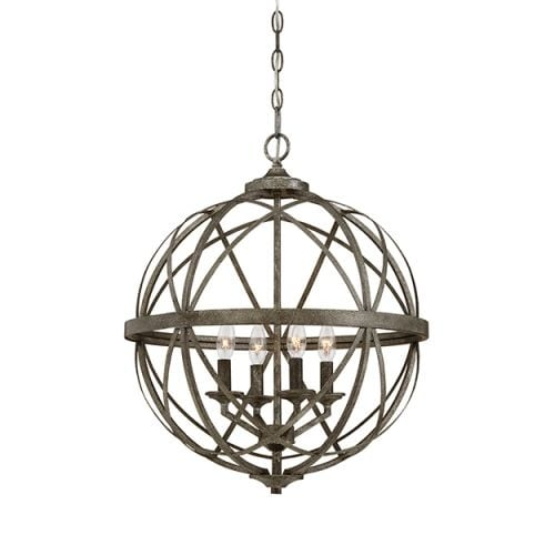 "Millennium Lighting 2284 Lakewood 4 Light 20"" Wide Foyer Pendant with Cage Frame"