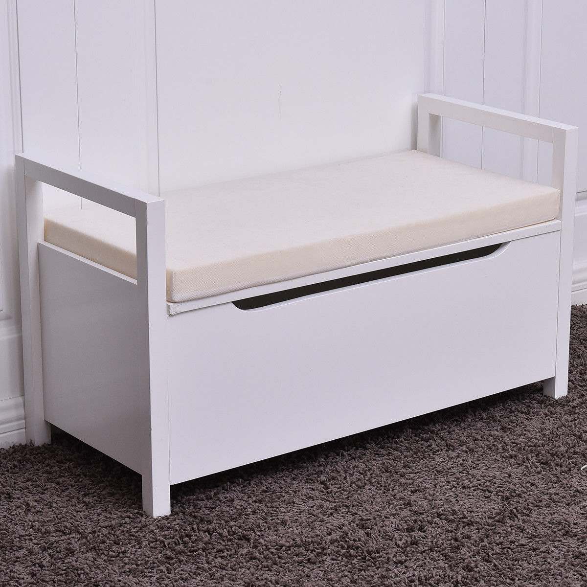 Costway Shoe Bench Storage Rack Cushion Seat Ottoman Bedroom Hallway  Entryway White