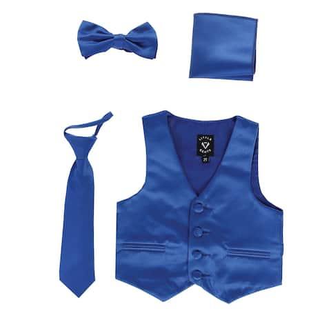 Lito Baby Boys Royal Blue Satin Vest Zipper Tie Hanky Bowtie Clothing Set 18-24M - 18-24 Months