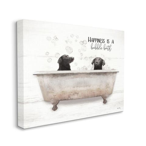 Stupell Industries Animal Bathroom Happiness is a Bubble Bath Dog Quote Canvas Wall Art - Beige