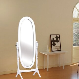 Costway Full Length Dressing Mirror Swivel Wood Cheval Floor Standing Antique