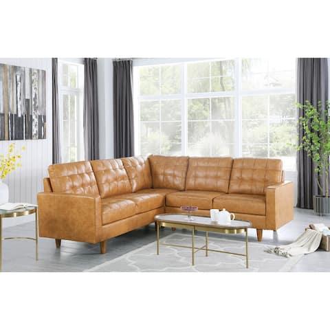 Corvus Oreanne 3-piece Tufted Faux Leather L-shaped Sectional Sofas