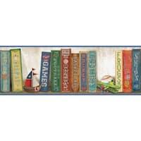 Brewster HAS01071B Stevie Blue Play The Game Bookshelf Border Wallpaper