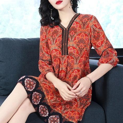 New Hi-End Women's Silk Dress Temperament Retro Loose Thin Silk Skirt