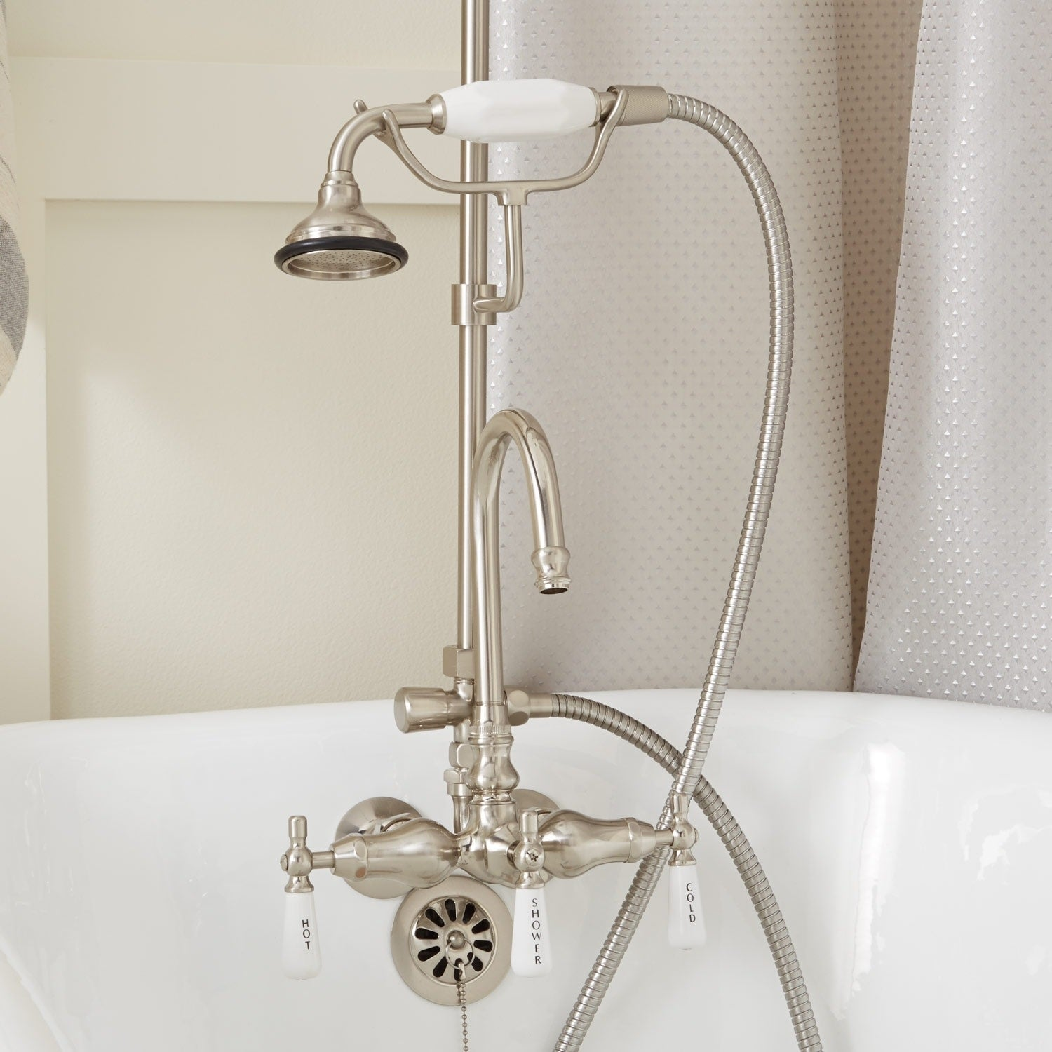 Signature Hardware 939242 54 P Gooseneck Hand Shower Conversion Kit With Porcela N A