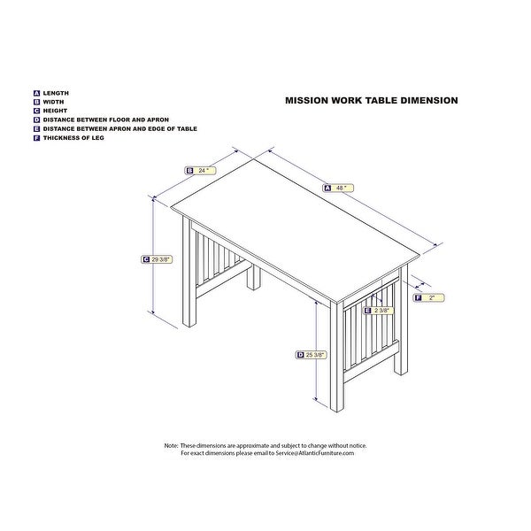 Atlantic Furniture Mission Walnut Wood Writing Desk