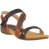 L'Artiste by Spring Step Women's Joaquima Flat Sandal Brown Multi Leather