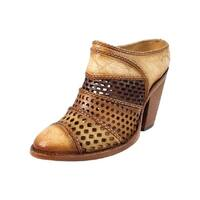 Corral Fashion Shoes Womens Cutouts Distressed Mule Tan