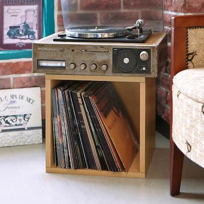 Way Basics Vintage Vinyl Storage Blox Cube Turntable Stand Organizer Shelf - Fits 65-70 LP Records