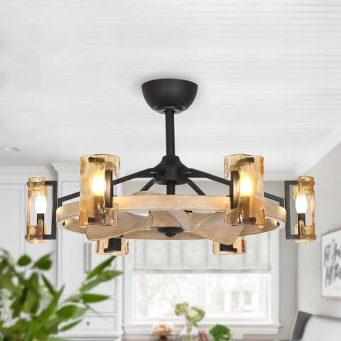 34-inch Reversible Wooden 3-Blade 6-Light Ceiling Fan with Glass Shade - 34-in