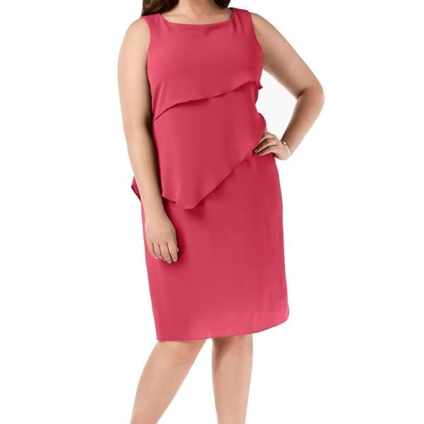 Jessica Howard Womens Hot Pink Size 16W Plus Chiffon Tiered Shift Dress