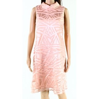 Vince Camuto Pink Womens Size 8 Geo-Pattern Sheer A-Line Dress