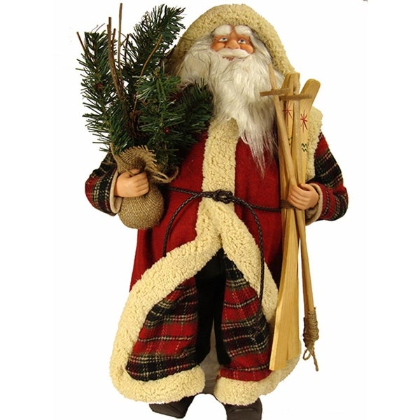 """24"""" Woodland Santa Claus Christmas Figure with Skis, Pine Boughs and Plush Cloak"""
