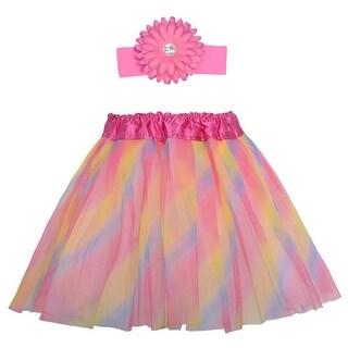 Rainbow Dance Tutu Skirt Flower Headband Set Ages 3-8 - One size