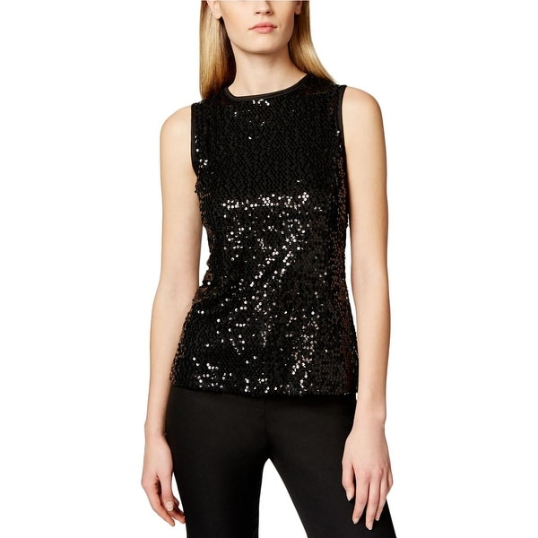 Onyx Nite Womens Tank Top Sequined Lined