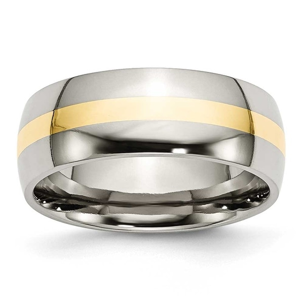 Chisel 14K Gold Center Polished Stainless Steel Ring (8.0 mm) - Sizes 6-13